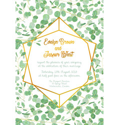 Wedding invitation with evergreen eucalyptus vector