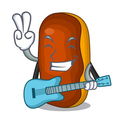 With guitar mascot cartoon eclair cake color vector