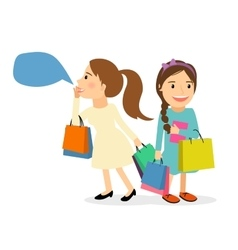 Women with shopping bags vector image