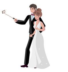 bride and groom make selfie vector image