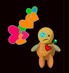 cartoon voodoo doll character vector image