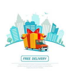free delivery concept delivery truck with gift vector image