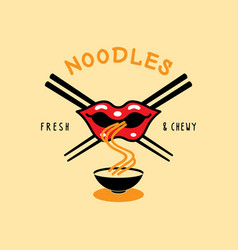 fresh and chewy noodle logo with mouth eat noodle vector image vector image