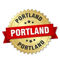 Portland round golden badge with red ribbon vector image vector image