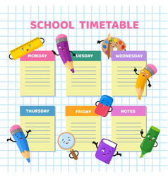 school timetable with funny cartoon stationery vector image