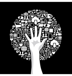 Social media hand tree vector image vector image