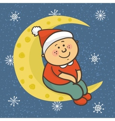 Baby is sitting on moon in Christmas cap vector image