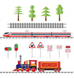 set of objects for the decoration of the railway vector image