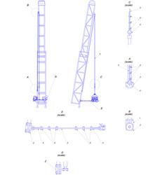 Engineering drawing telescopic tower vector