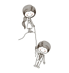 Girl holds boy on cliff with rope vector