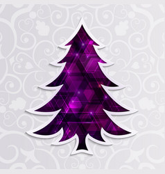 glowing purple christmas tree isolated on the vector image vector image