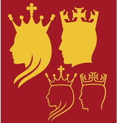 king and queen heads vector image vector image