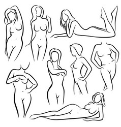 outline beautiful woman silhouettes line vector image