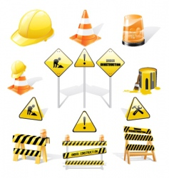 under construction icons set vector image vector image