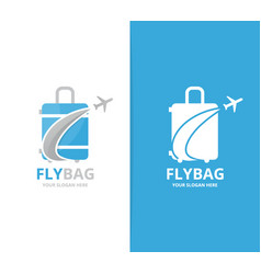 bag and plane logo combination baggage vector image