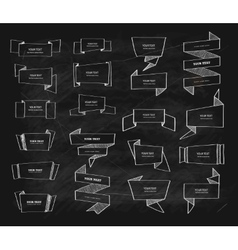 Big chalk retro origami banners set vector image
