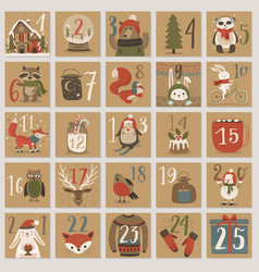christmas advent calendar hand drawn style vector image vector image