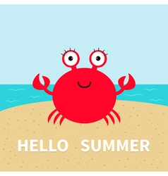 Crab on the beach Sea ocean sky sand Cute cartoon vector image