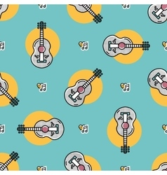 Music seamless pattern Acoustic guitar isolated vector image