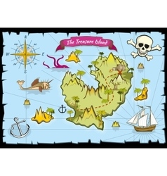 pirate treasure color map vector image