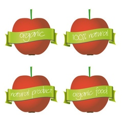 red apples with organic and natural banners eps10 vector image