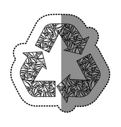Sticker monochrome recycling symbol with arrows vector