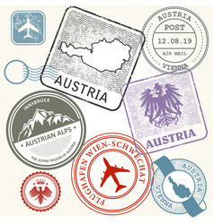 travel stamps set - austria vienna and alps vector image vector image