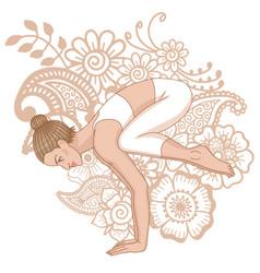 women silhouette crane yoga pose bakasana vector image vector image
