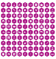 100 wine icons hexagon violet vector image