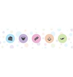 5 tasty icons vector