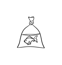 a fish in the plastic bag hand drawn outline vector image