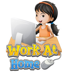 A girl working at home vector