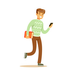A young man walking and holding a book and a vector