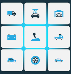 Auto icons colored set with stick crossover vector