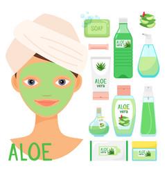 beauty treatments with organic aloe vera cosmetics vector image