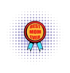 Best Mom rosette icon comics style vector