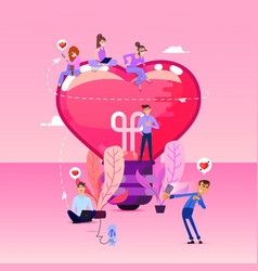 big heart shaped bulbs and tiny people around vector image