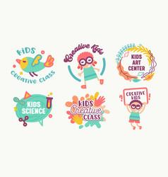 Big icons set kids art center creative class vector