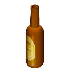 black beer bottle icon isometric style vector image