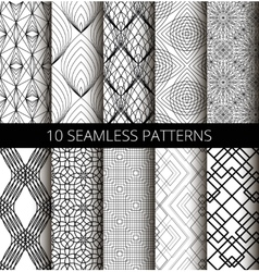 Black White Line Patterns Set vector