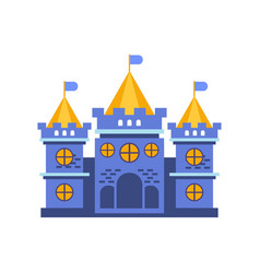 blue fairytale royal castle or palace building vector image