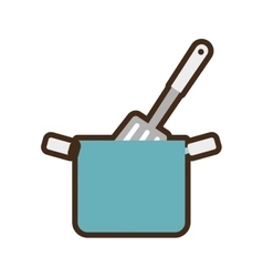 blue pot spatula kitchenware vector image