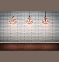 Brick wall room with vintage wire pendant lamps vector