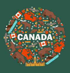 canadian symbols and main landmarks vector image