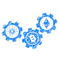 Cardano cryptocurrency engine icon grunge vector