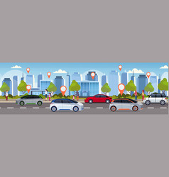 Cars with location pin on road online ordering vector