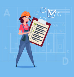 cartoon female builder carpenter hold checklist vector image