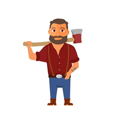Cartoon lumberjack character with axe vector image