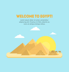 Cartoon pyramid symbol of egypt background card vector