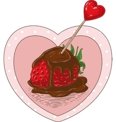 Chocolate Covered Strawberrie and Heart vector image